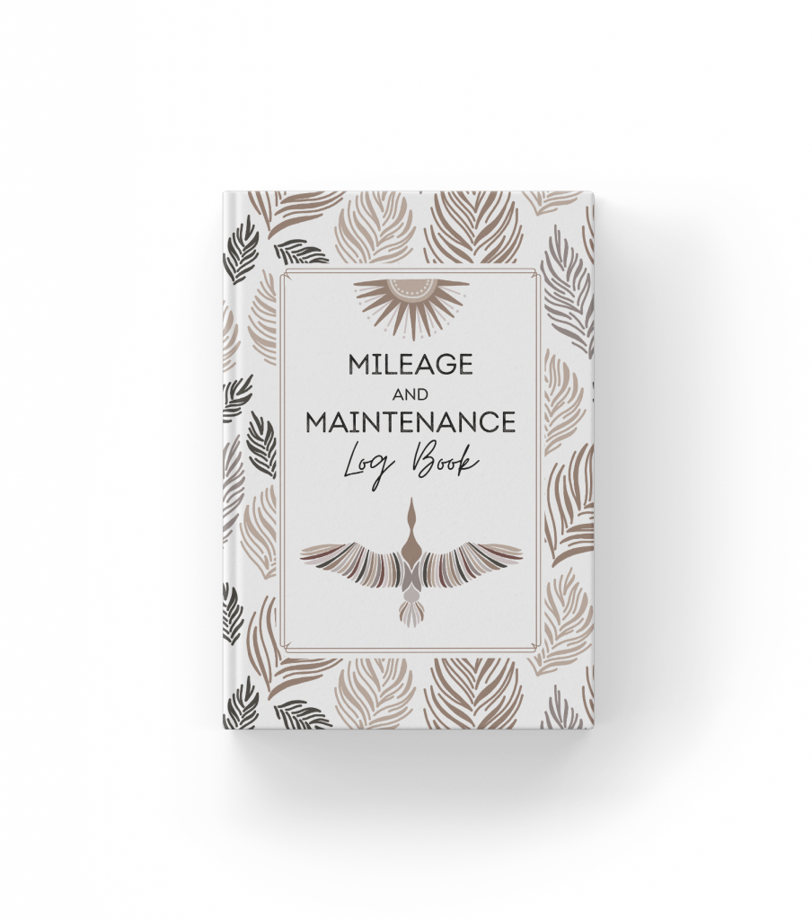 "A small book with a white cover decorated with brown feathers, and the words ""Mileage and Maintenance Log Book"" on the front."